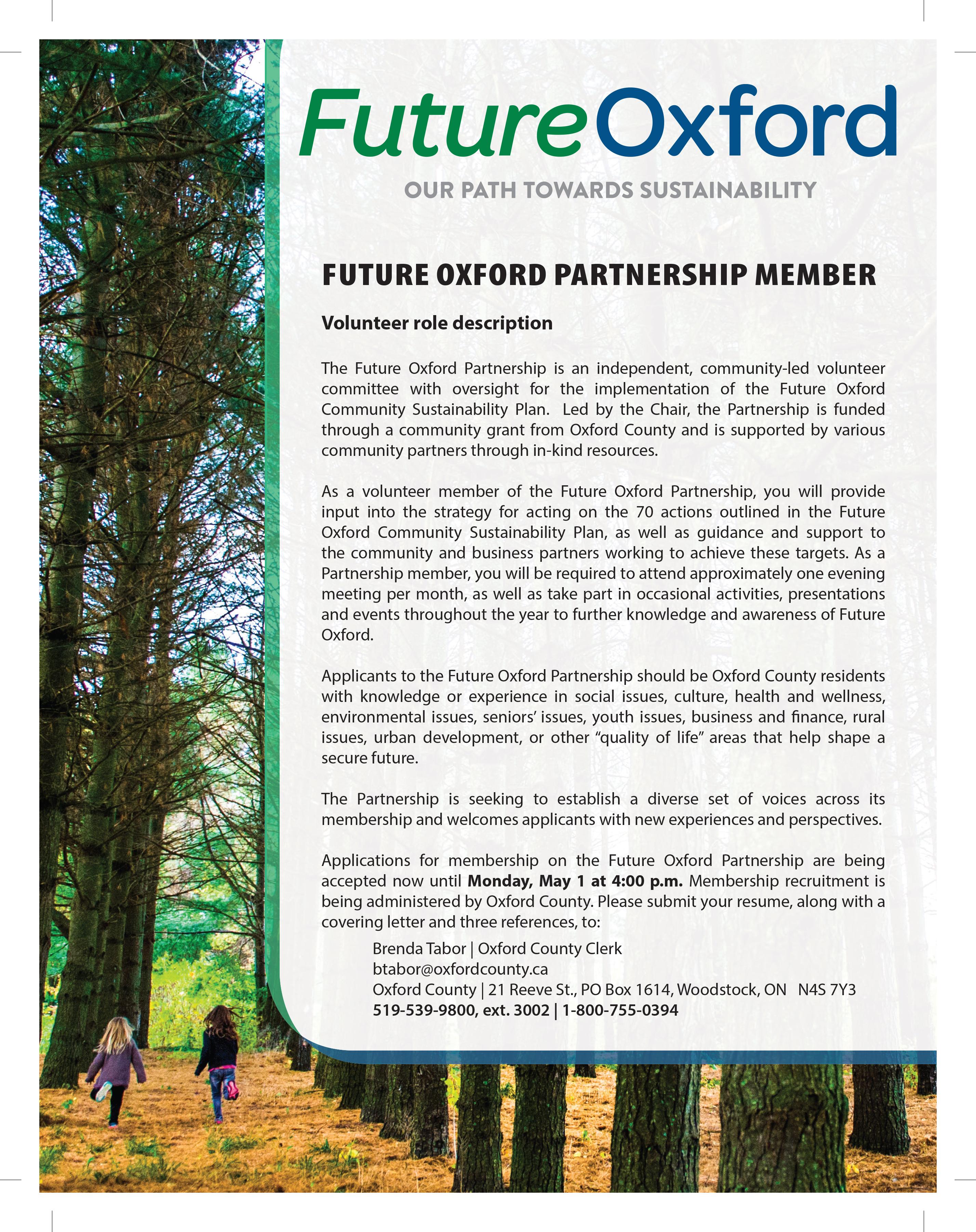 Deadline extended: Future Oxford Partnership seeking new members